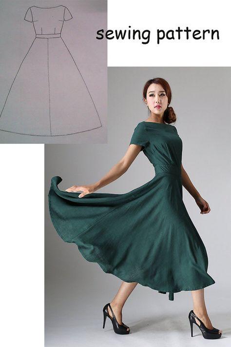 Kleid-Schnittmuster, Kleid Muster, PDF Sewing Patterns, Nähen Muster (YE119)                                                                                                                                                     Mehr