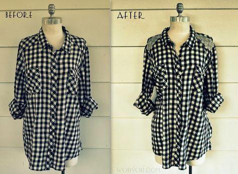 WobiSobi: Black and White Plaid Sparkle Shirt DIY.