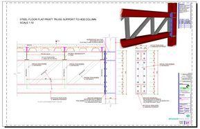 Steel Floor Flat Pratt Truss Support To Heb Column Steel Trusses Steel Structure Buildings Steel Architecture