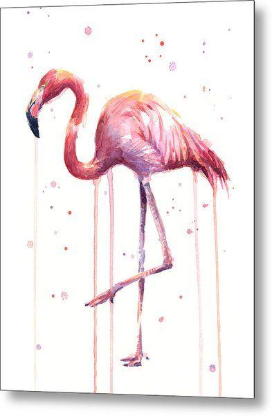 Watercolor Flamingo Metal Print By Olga Shvartsur Bird Art Print Flamingo Art Flamingo Art Print