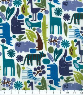Nursery Fabric Baby Zoo Cool So Hard