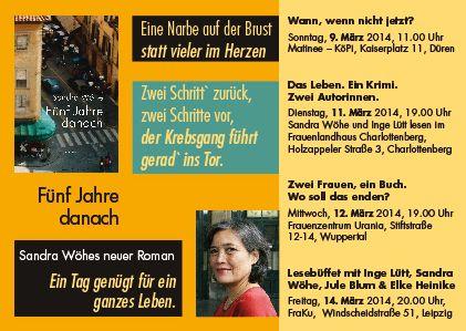 Der März sorgt dafür, dass aus der Schriftstellerin Sandra Wöhe eine Autorin wird. Mit anderen Worten: Ich bin wieder on tour, diesmal mit dem Auto. Meine Raststätten und Lesestationen sind Düren, Charlottenberg, Wuppertal und Leipzig. Mehr Infos gibt es auf meiner Website.