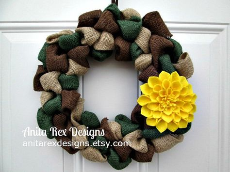 Camo Wreath, Support Our Troops,  Military Wreath, Burlap Wreath, Camouflage on Etsy, $35.00