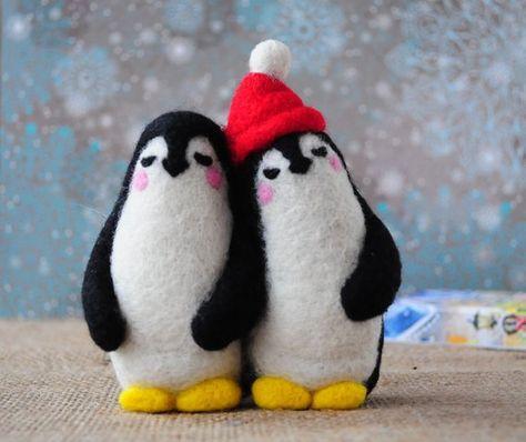 Couple of penguins - Custom Animal,Needle felting,wool,doll,penguin,soft plush,custom bird,winter an