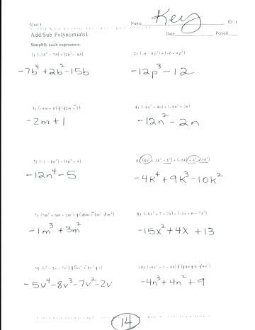 Adding And Subtracting Polynomials Worksheet Adding And Subtracting Polynomials Polynomials Adding And Subtracting