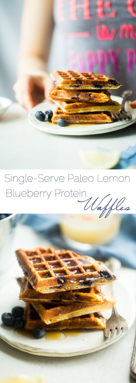 Single-Serve Lemon Blueberry Paleo Protein Waffles - These single-serve protein waffles are studded with juicy blueberries and have a 5 minute lemon sauce! Perfect for a paleo friendly, gluten free breakfast on busy mornings! This is a sponsored pin.   FoodFaithfitness.com   @FoodFaithFit
