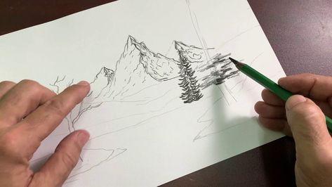 سنتعلم معا طريقة رسم منظر طبيعي بالقلم الرصاص خطوه خطوه وسنتعلم طريقة رسم بيت او كوخ واشجار وبحيرة وطيور وصخور وانعكاسها Oil Painting Triangle Tattoo Tattoos