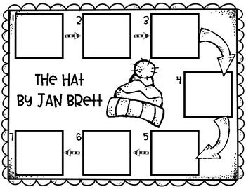 The Hat, by Jan Brett, sequencing page for young learners. Students cut out the animals and glue them on the printable in the order they were introduced in the story. I also included a page for The Snowy Nap, also by Jan Brett. Kindergarten Reading Activities, Sequencing Activities, Teaching Reading, In Kindergarten, Book Activities, Winter Activities, Literacy, Art Lessons Elementary, Elementary Schools