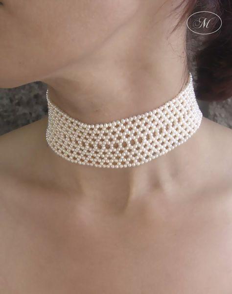 Woven Seed Pearl Choker - Marina J Jewelry