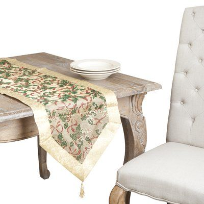 The Holiday Aisle Dinah Printed Table Runner Christmas Table Linen Table Runner Size Table Linens