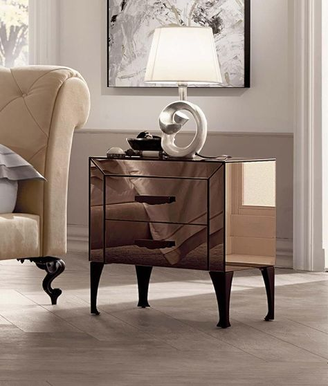 Mirrored bedroom furniture by Cantori u0027Adoneu0027 night table