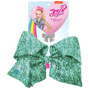JoJo Siwa Signature Sequin Bow And Necklace Set - Mint