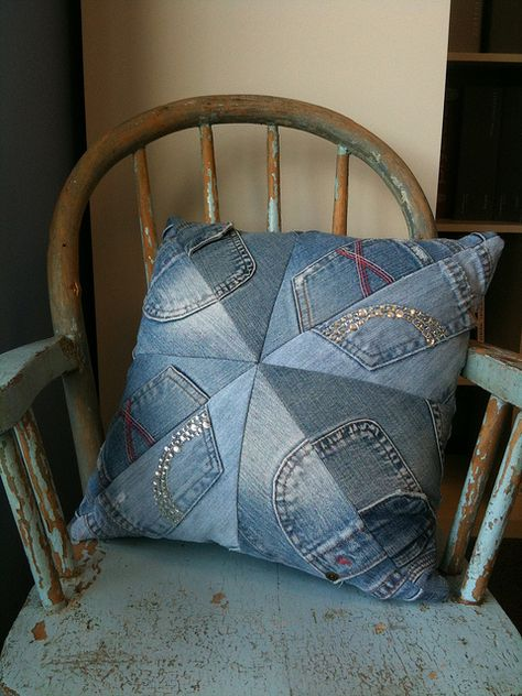 Adorable toss pillow created by HDD from outgrown teen jeans in a quilt-block pattern.