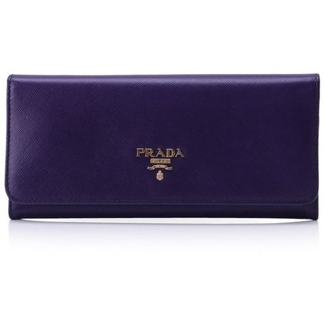 fb83a29410fc Pre-owned PRADA SAFFIANO LONG WALLET ($350) ❤ liked on Polyvore featuring  bags, wallets, purple, blue wallet, long wallet, purple wallet, purple  leather ...