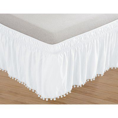 Darby Home Co Simple Elegance Solid Pom Pom 14 Bed Skirt White