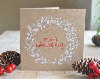 Hand Printed Christmas Cards Etsy Handprint Christmas Cards Print Christmas Card Christmas Cards Etsy