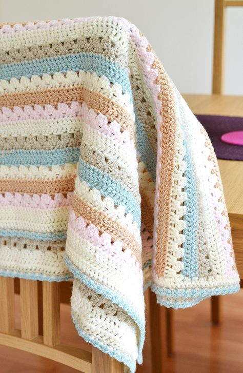 A look at how I made Attic 24's cosy stripe blanket, adapating it to make for the perfect baby blanket.
