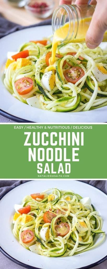 Zucchini Noodle Salad with hard-boiled eggs and spicy mustard flaxseed oil vinaigrette is perfect Summer salad. This beautiful salad is easy to make with just a few simple ingredients. It's a delicious, healthy way to enjoy raw spiralized zucchinis!---- #salad #saladrecipes #saladdressing #saladrecipeseasy #eggs #eggsalad #vinaigrette #healthyrecipes #healthyfood #healthyeating