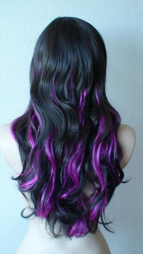 Check Out Our , Black Purple Hair Color, Purple Highlights for Summer Hair, Purple Shade by Chloe theyoungamerican Colormelt. Hair Color Purple, Hair Dye Colors, Cool Hair Color, Black Hair Purple Highlights, Purple Hair Streaks, Color Highlights, Blonde Highlights, Black To Purple Ombre, Purple Peekaboo Highlights