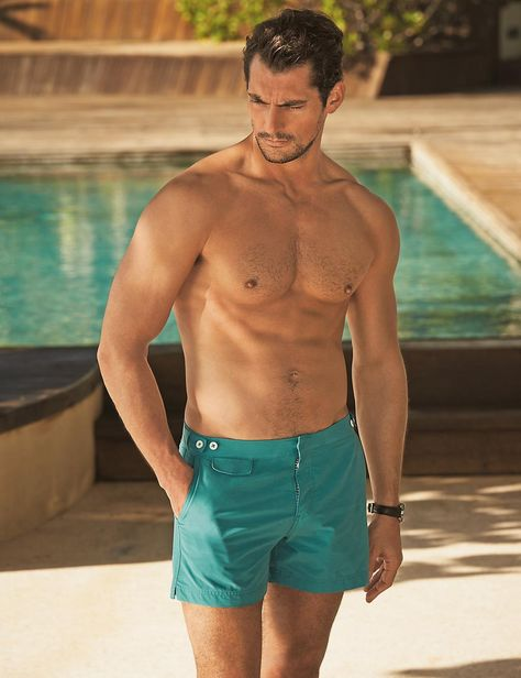 David Gandy and Marks & Spencer launched Swimwear Collection 2015 hair by Larry King David Gandy, Hommes Sexy, Fitness Photography, Male Photography, Mens Fitness, Gorgeous Men, Beachwear, Men's Swimwear, Swimsuits