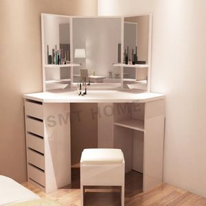 White Color Mecor Vanity Makeup Table Set Dressing Table With Stool And Square Mirror For Corner Of In 2020 Corner Dressing Table Vanity Furniture Dressing Table
