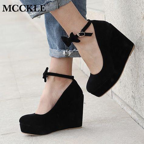 Women Lady Wedge Mary Jane Ankle Strap Pumps Wedding Bridal Plus SZ buckle Shoes