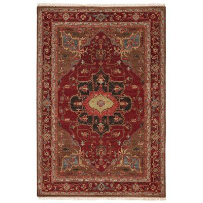Astoria Grand Nikita Oriental Hand Knotted Wool Red Brown Area Rug