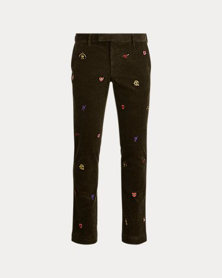 Stretch Slim Embroidered Trouser Slim Fit Chinos Trousers Mens Outfits