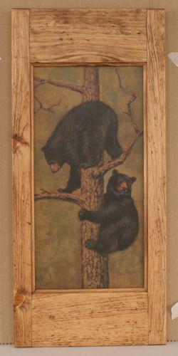 Wooden Boat Floor Lamp W/Bear Cubs Scene Cabinet Door