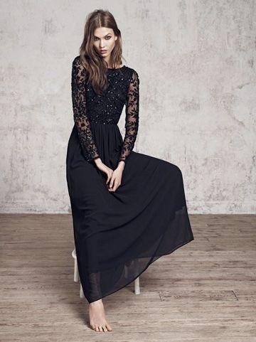 1a260d5a6a1f4 Belle robe manches longues dentelle fluide voile noire   Art ...
