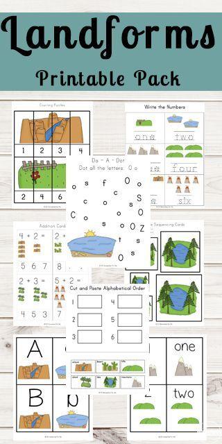 Free Landforms Worksheets Printable Pack Landforms Worksheet Kindergarten Worksheets Printable Preschool Worksheets Landform worksheet 2nd grade
