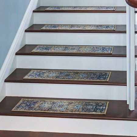 Give Your Stairs Protection And Style With The Set Of 4 Antique   Carpet Stair Treads Only   Wood   Hardwood   Stair Runner   Non Slip   Hardwood Floors