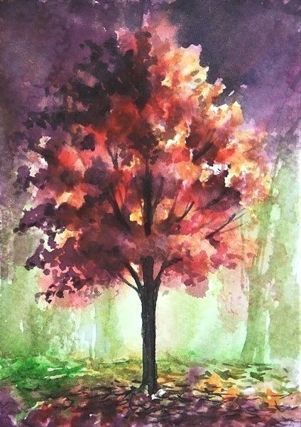 Aceo Original Autumn Fall Painting Woodland Tree Landscape