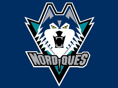 Quebec Nordiques Unused Logo (1996) - Navy blue wolf head on teal and black…