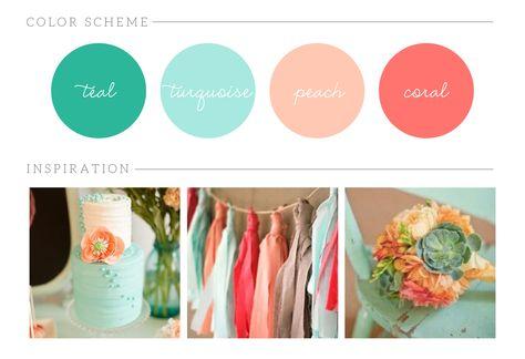 Wedding Color Inspiration Teal Turquoise Peach Coral Wedding www.bricibene.com
