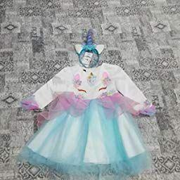 Costume da Unicorno con Corno Vestito Elegante da Ragazza Tutu Floreale Principessa Festa Cerimonia Carnevale Spettacolo di Compleanno Ballerina Abiti per Bambini manica lunga per Fiore Gonna da Sposa