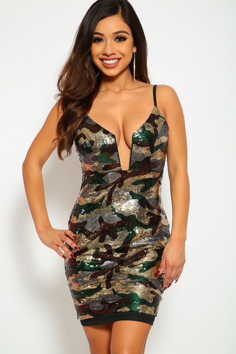 Camouflage Sequins Bodycon Party Dress