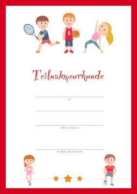 Teilnahme Kinderurkunde Kinder Und Sport In 2020 Urkunde Vorlage Urkunde Urkunden Zum Ausdrucken