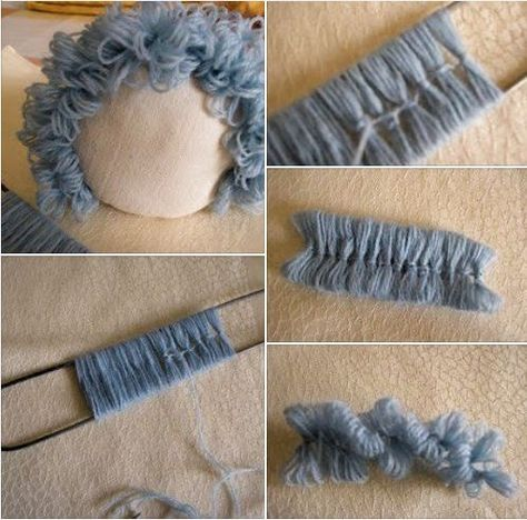 Step by Step Wool Felt Doll Hair - Spielzeug Fabric Doll Pattern, Doll Patterns, Doll Wigs, Doll Hair, Doll Crafts, Diy Doll, Knitted Dolls, Crochet Dolls, Homemade Dolls