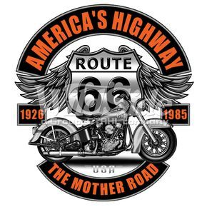America/'s Highway Route 66 Long Sleeve T-Shirt The Mother Road Biker Chopper Tee