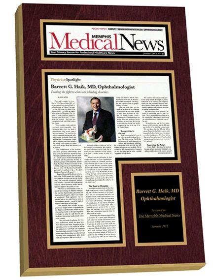 Top Doctors and Top Hospitals magazine publication list plaques.