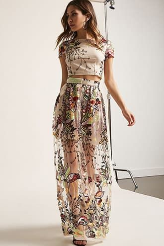 d938fbbda015e Sheer Mesh Floral Embroidered Crop Top & Maxi Skirt Set | Products ...