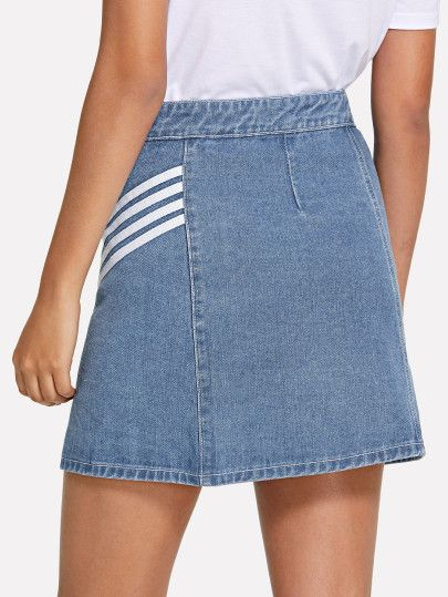 2feea0aba7a2 Stripe Split Front Buttoned Skirt -SheIn(Sheinside) | I don't know ...