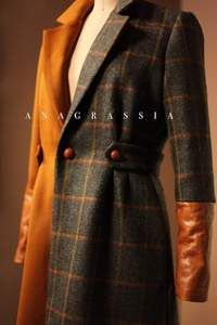 Gold and Gray Brown Orange Tweed with Cognac Leather Cuffs and Buttons Color Block Custom Jacket #leatherjacket #colorblockjacket #leather coat #wool #woolcoat #wooljacket #plaidcoat #plaidwoolcoat #plaidjacket #plaidwooljacket #plaidfashion #luxuryfashion #plaidouterwear #tweedjacket #tweedcoat #tweedplaid #customcoat #customjacket