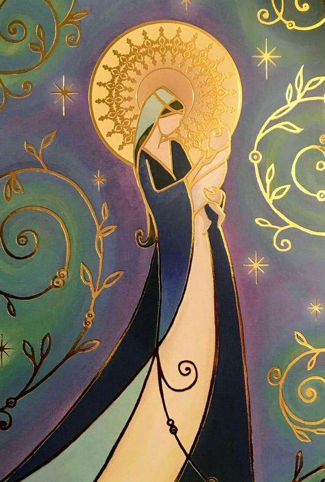 Mary and Jesus Catholic Art, Religious Art, Blessed Mother Mary, Blessed Virgin Mary, Mary And Jesus, Holy Mary, Madonna And Child, Angel Art, Sacred Art