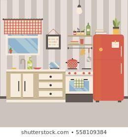 Kitchen Room Red Furniture Refrigerator Stove のベクター画像素材