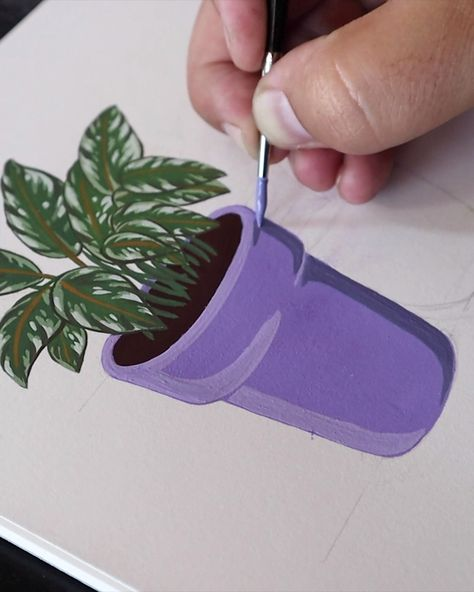 This is a quick how-to / follow-along with video of me painting a potted rubber plant. Super Easy to paint with excellent results. Follow along with this vid...