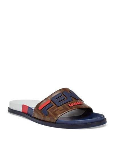 50b29be8e N5SPH Fendi Men's Fendi Mania Logo-Applique Leather Slide Sandal ...