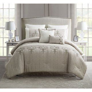 Vcny Grace Embroidered Comforter Set Blue Queen Microfiber