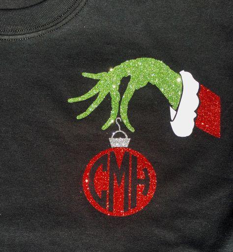 Mr Grinch Ornament Monogram Shirt by BurlapandLaceSC1 on Etsy https://www.etsy.com/listing/252653877/mr-grinch-ornament-monogram-shirt